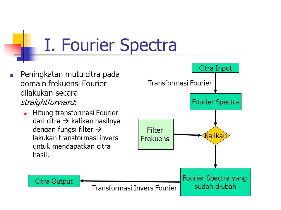 I. Fourier Spectra Peningkatan mutu citra pada domain frekuensi Fourier dilakukan secara straightforward: Hitung transformasi Fourier dari citra  kal