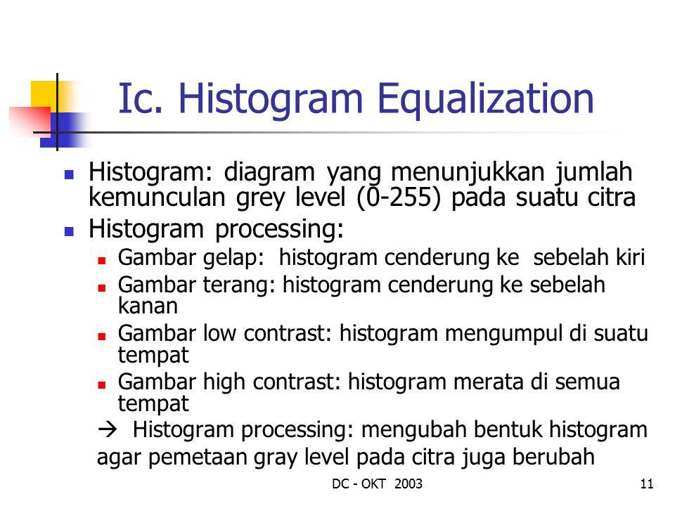 DC - OKT 200311 Ic. Histogram Equalization Histogram: diagram yang menunjukkan jumlah kemunculan grey level (0-255) pada suatu citra Histogram process