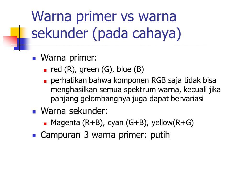 Warna primer vs warna sekunder (pada cahaya) Warna primer: red (R), green (G), blue (B) perhatikan bahwa komponen RGB saja tidak bisa menghasilkan sem