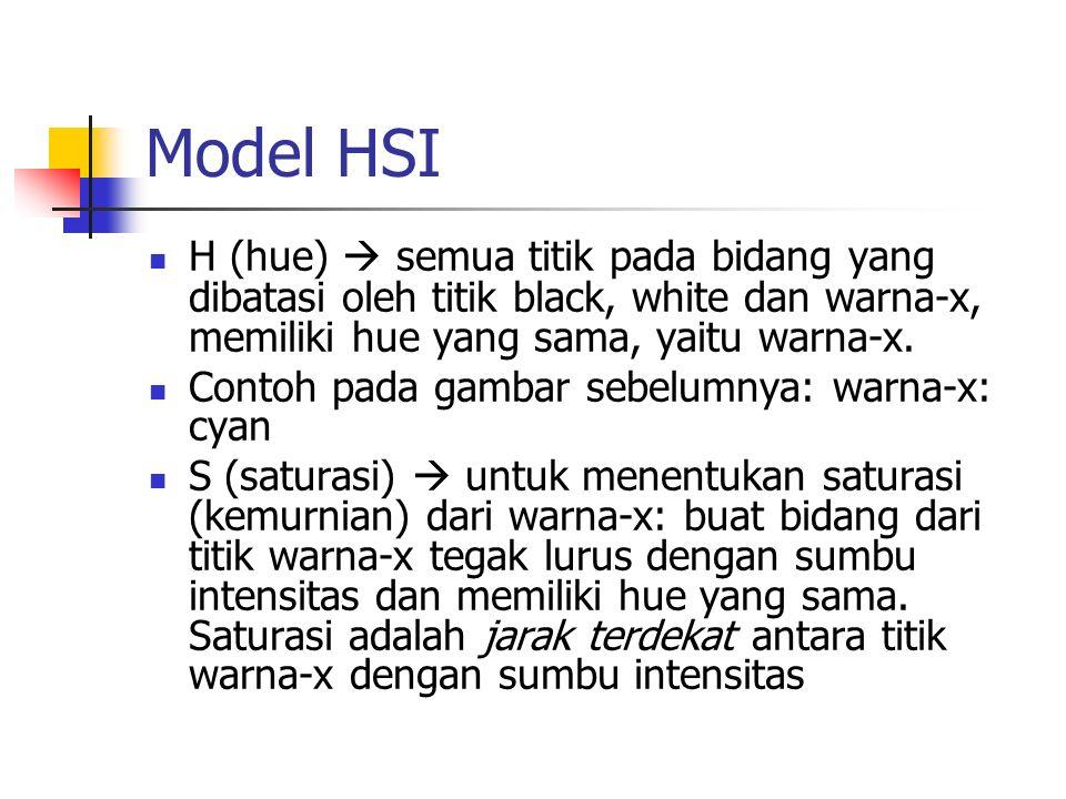 Model HSI H (hue)  semua titik pada bidang yang dibatasi oleh titik black, white dan warna-x, memiliki hue yang sama, yaitu warna-x. Contoh pada gamb