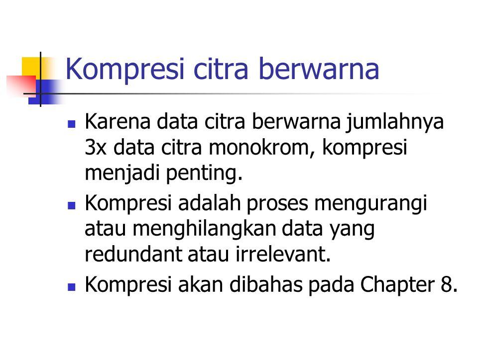 Karena data citra berwarna jumlahnya 3x data citra monokrom, kompresi menjadi penting. Kompresi adalah proses mengurangi atau menghilangkan data yang
