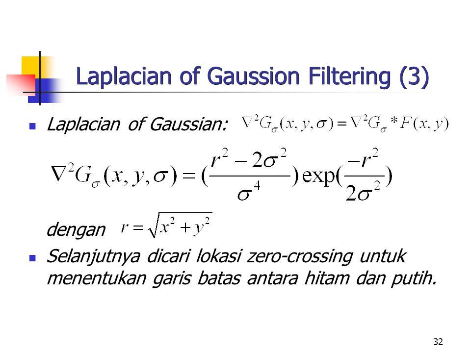 32 Laplacian of Gaussion Filtering (3) Laplacian of Gaussian: dengan Selanjutnya dicari lokasi zero-crossing untuk menentukan garis batas antara hitam dan putih.