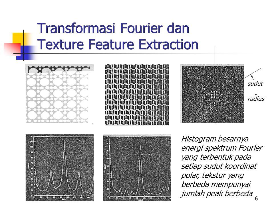 6 Transformasi Fourier dan Texture Feature Extraction sudut radius Histogram besarnya energi spektrum Fourier yang terbentuk pada setiap sudut koordinat polar, tekstur yang berbeda mempunyai jumlah peak berbeda