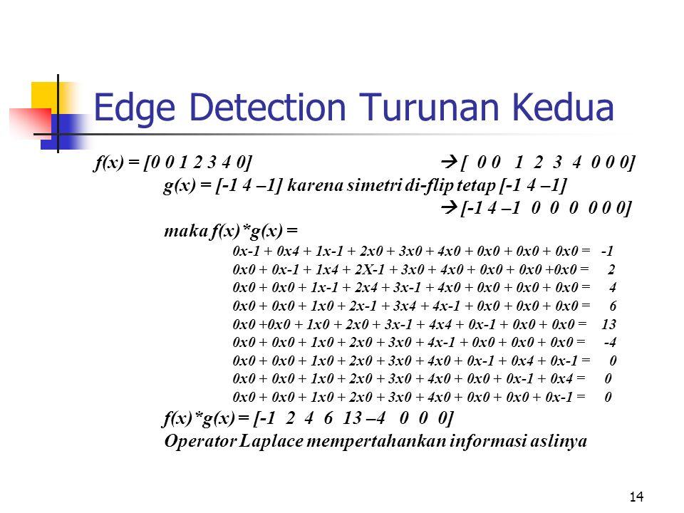 14 Edge Detection Turunan Kedua f(x) = [0 0 1 2 3 4 0]  [ 0 0 1 2 3 4 0 0 0] g(x) = [-1 4 –1] karena simetri di-flip tetap [-1 4 –1]  [-1 4 –1 0 0 0