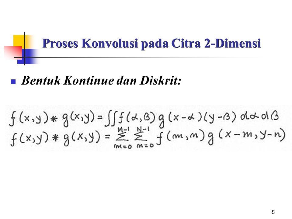8 Proses Konvolusi pada Citra 2-Dimensi Bentuk Kontinue dan Diskrit: