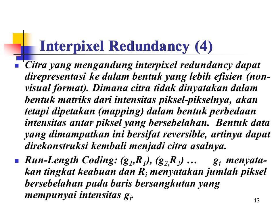 13 Interpixel Redundancy (4) Citra yang mengandung interpixel redundancy dapat direpresentasi ke dalam bentuk yang lebih efisien (non- visual format).