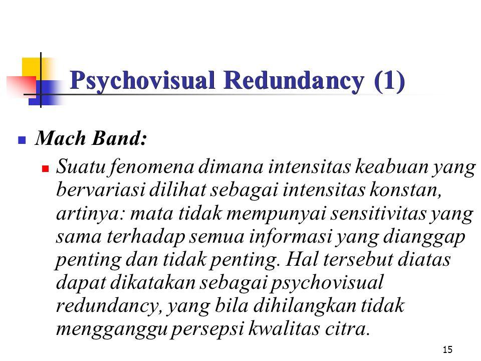15 Psychovisual Redundancy (1) Mach Band: Suatu fenomena dimana intensitas keabuan yang bervariasi dilihat sebagai intensitas konstan, artinya: mata tidak mempunyai sensitivitas yang sama terhadap semua informasi yang dianggap penting dan tidak penting.