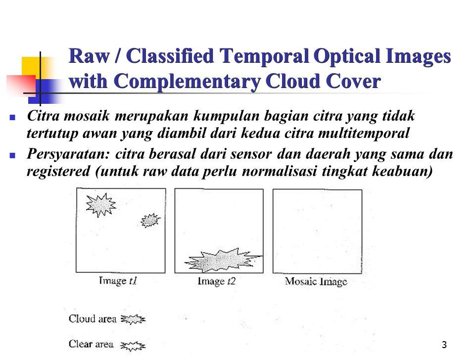 3 Raw / Classified Temporal Optical Images with Complementary Cloud Cover Citra mosaik merupakan kumpulan bagian citra yang tidak tertutup awan yang diambil dari kedua citra multitemporal Persyaratan: citra berasal dari sensor dan daerah yang sama dan registered (untuk raw data perlu normalisasi tingkat keabuan)