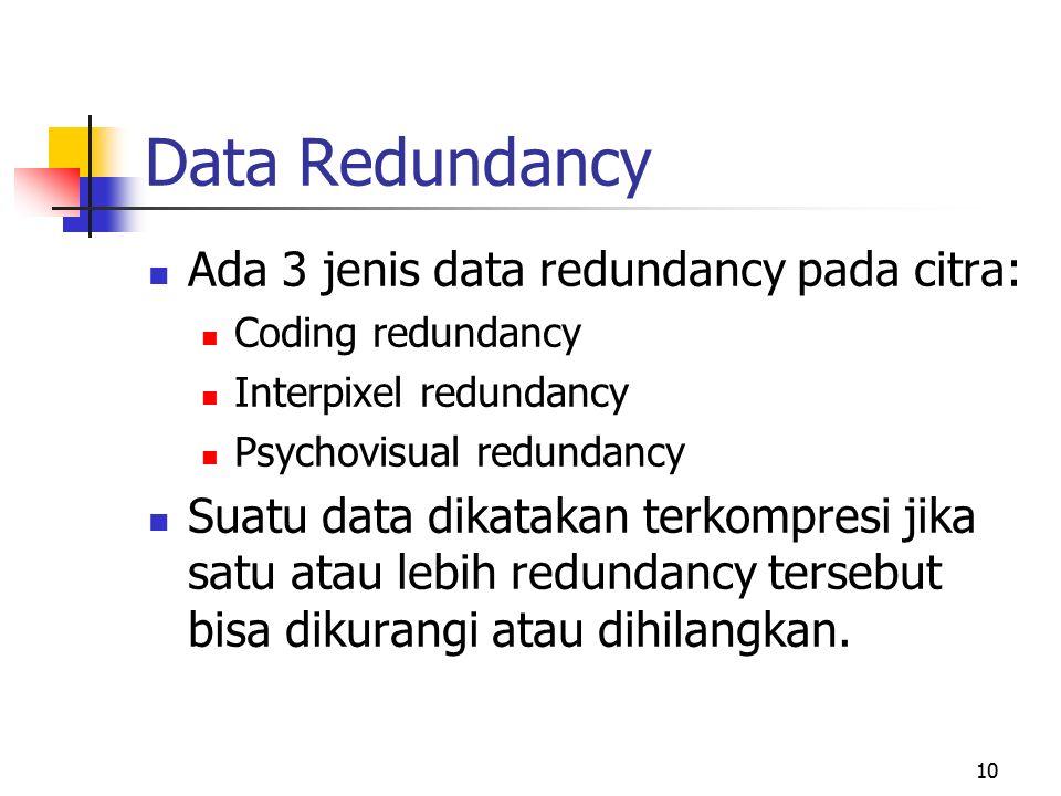 10 Data Redundancy Ada 3 jenis data redundancy pada citra: Coding redundancy Interpixel redundancy Psychovisual redundancy Suatu data dikatakan terkompresi jika satu atau lebih redundancy tersebut bisa dikurangi atau dihilangkan.