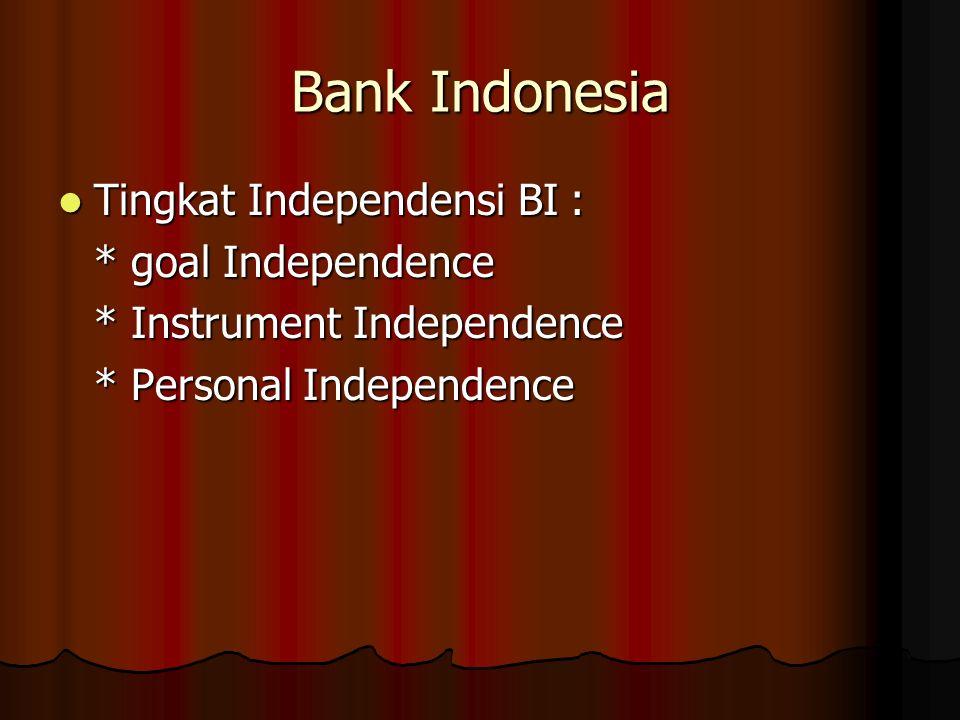Bank Indonesia Tingkat Independensi BI : Tingkat Independensi BI : * goal Independence * Instrument Independence * Personal Independence