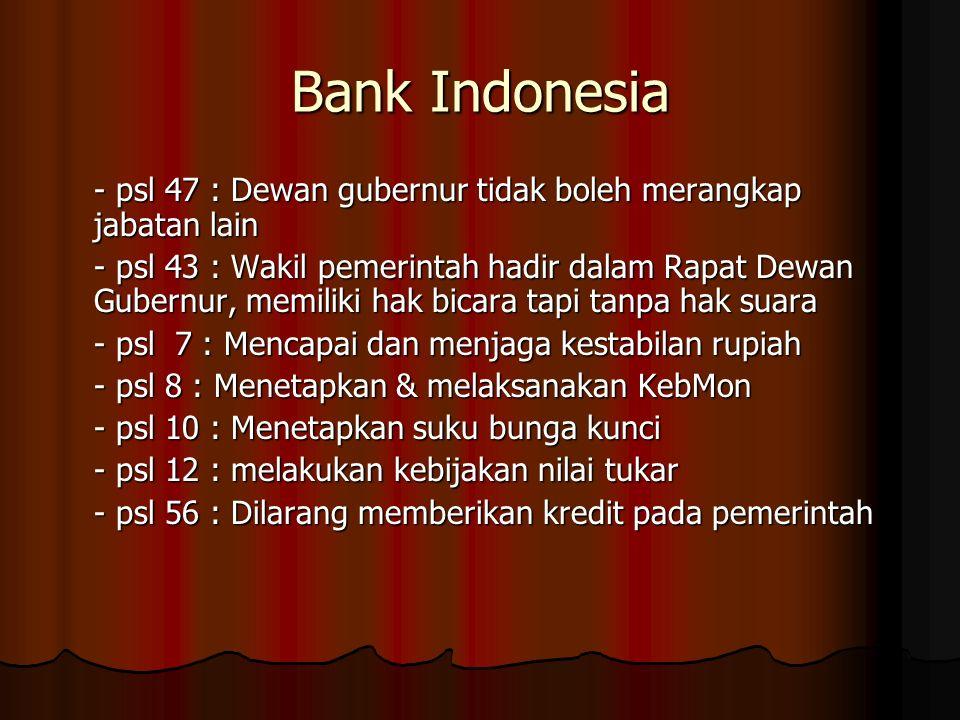 Bank Indonesia - psl 47 : Dewan gubernur tidak boleh merangkap jabatan lain - psl 43 : Wakil pemerintah hadir dalam Rapat Dewan Gubernur, memiliki hak