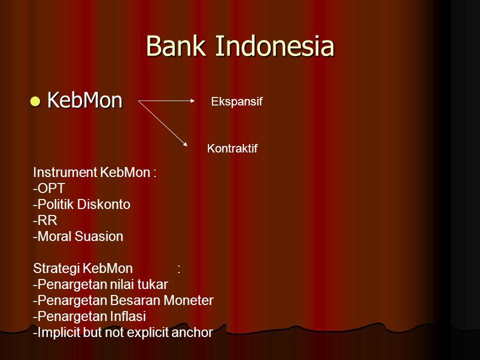 Bank Indonesia KebMon KebMon Ekspansif Kontraktif Instrument KebMon : -OPT -Politik Diskonto -RR -Moral Suasion Strategi KebMon: -Penargetan nilai tukar -Penargetan Besaran Moneter -Penargetan Inflasi -Implicit but not explicit anchor