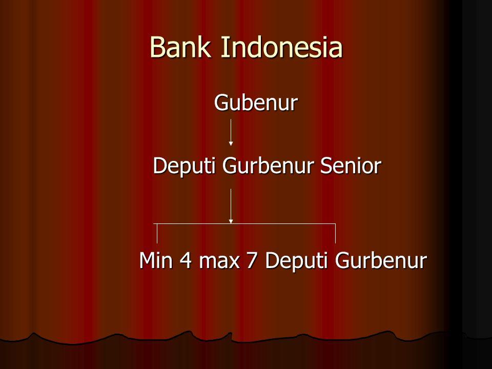 Bank Indonesia Gubenur Gubenur Deputi Gurbenur Senior Deputi Gurbenur Senior Min 4 max 7 Deputi Gurbenur Min 4 max 7 Deputi Gurbenur