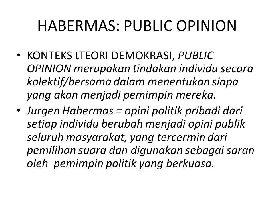 HABERMAS: PUBLIC OPINION KONTEKS tTEORI DEMOKRASI, PUBLIC OPINION merupakan tindakan individu secara kolektif/bersama dalam menentukan siapa yang akan menjadi pemimpin mereka.