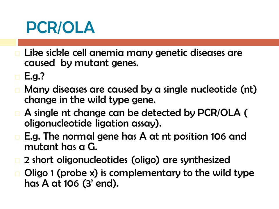 PCR/OLA  Like sickle cell anemia many genetic diseases are caused by mutant genes.