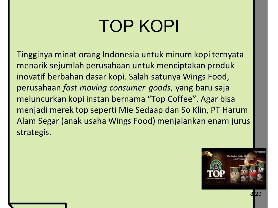 TOP KOPI Tingginya minat orang Indonesia untuk minum kopi ternyata menarik sejumlah perusahaan untuk menciptakan produk inovatif berbahan dasar kopi.
