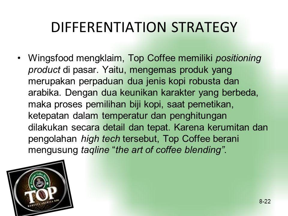 DIFFERENTIATION STRATEGY Wingsfood mengklaim, Top Coffee memiliki positioning product di pasar. Yaitu, mengemas produk yang merupakan perpaduan dua je