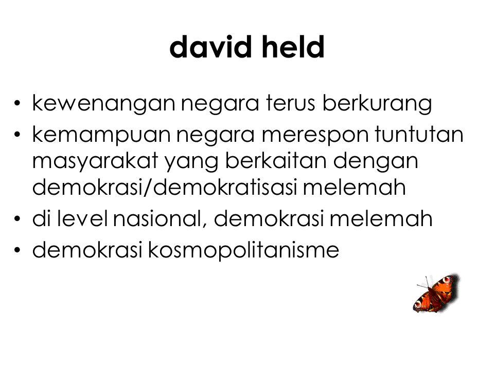 david held kewenangan negara terus berkurang kemampuan negara merespon tuntutan masyarakat yang berkaitan dengan demokrasi/demokratisasi melemah di level nasional, demokrasi melemah demokrasi kosmopolitanisme