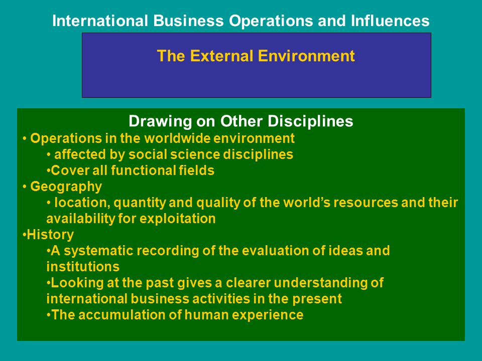 International Business Operations and Influences The External Environment Drawing on Other Disciplines Operations in the worldwide environment affected by social science disciplines Cover all functional fields Geography location, quantity and quality of the world's resources and their availability for exploitation History A systematic recording of the evaluation of ideas and institutions Looking at the past gives a clearer understanding of international business activities in the present The accumulation of human experience