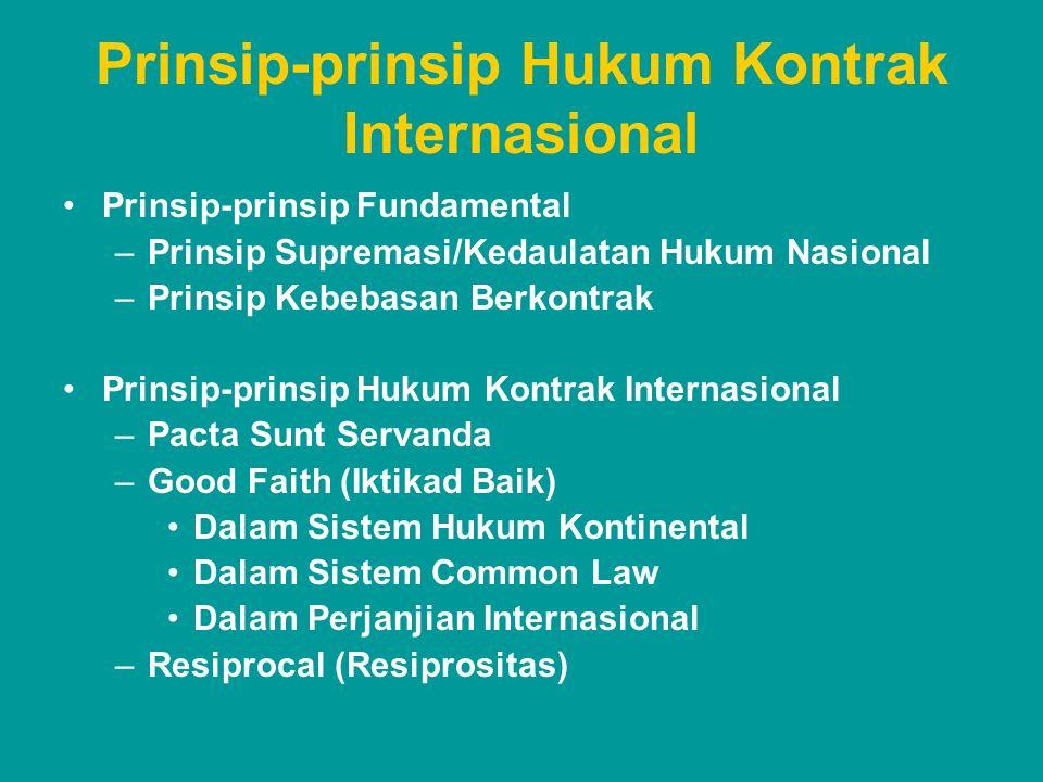 Prinsip-prinsip Hukum Kontrak Internasional Prinsip-prinsip Fundamental –Prinsip Supremasi/Kedaulatan Hukum Nasional –Prinsip Kebebasan Berkontrak Pri