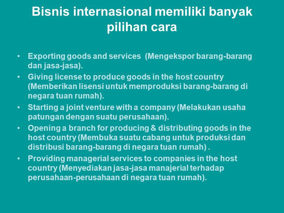 Bisnis internasional memiliki banyak pilihan cara Exporting goods and services (Mengekspor barang-barang dan jasa-jasa). Giving license to produce goo