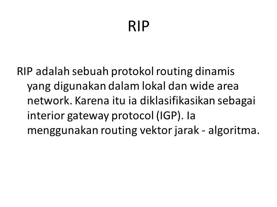 RIP RIP adalah sebuah protokol routing dinamis yang digunakan dalam lokal dan wide area network.