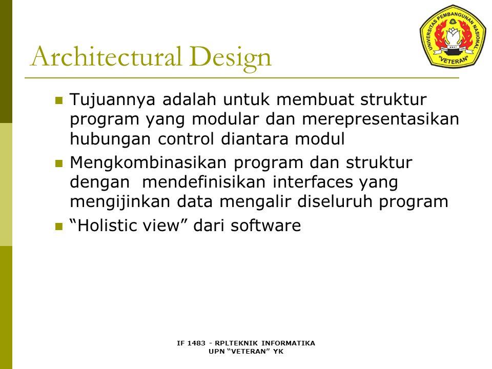 IF 1483 - RPLTEKNIK INFORMATIKA UPN VETERAN YK Architectural Design Tujuannya adalah untuk membuat struktur program yang modular dan merepresentasikan hubungan control diantara modul Mengkombinasikan program dan struktur dengan mendefinisikan interfaces yang mengijinkan data mengalir diseluruh program Holistic view dari software
