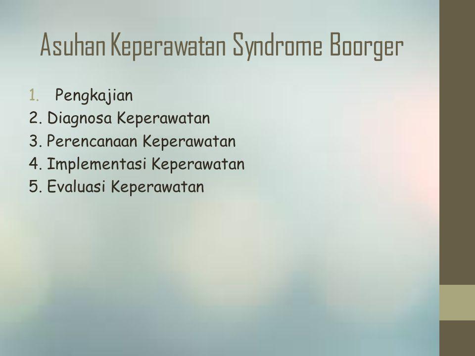 Asuhan Keperawatan Syndrome Boorger 1.Pengkajian 2. Diagnosa Keperawatan 3. Perencanaan Keperawatan 4. Implementasi Keperawatan 5. Evaluasi Keperawata