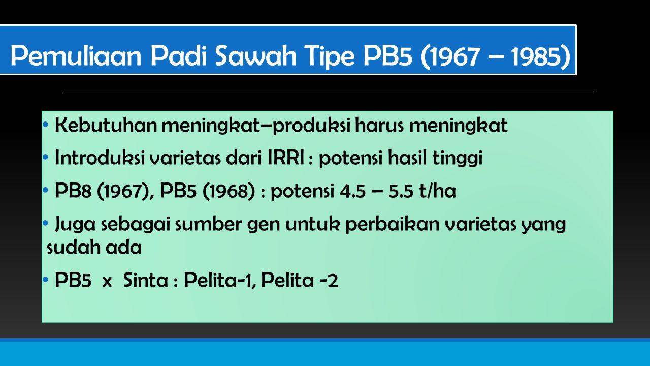 Pemuliaan Padi Sawah Tipe PB5 (1967 – 1985) Kebutuhan meningkat–produksi harus meningkat Introduksi varietas dari IRRI : potensi hasil tinggi PB8 (1967), PB5 (1968) : potensi 4.5 – 5.5 t/ha Juga sebagai sumber gen untuk perbaikan varietas yang sudah ada PB5 x Sinta : Pelita-1, Pelita -2