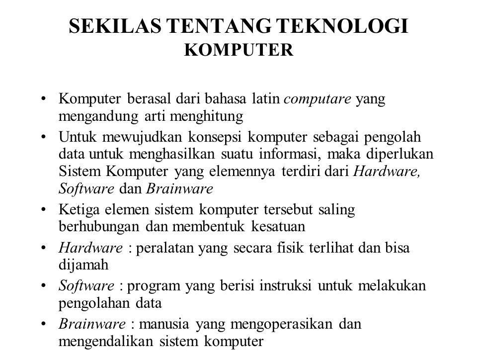 SEKILAS TENTANG TEKNOLOGI KOMPUTER Komputer berasal dari bahasa latin computare yang mengandung arti menghitung Untuk mewujudkan konsepsi komputer seb