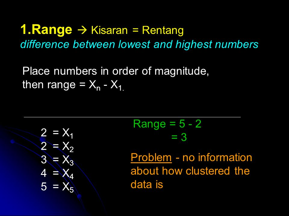 1.Range  Kisaran = Rentang difference between lowest and highest numbers Place numbers in order of magnitude, then range = X n - X 1.