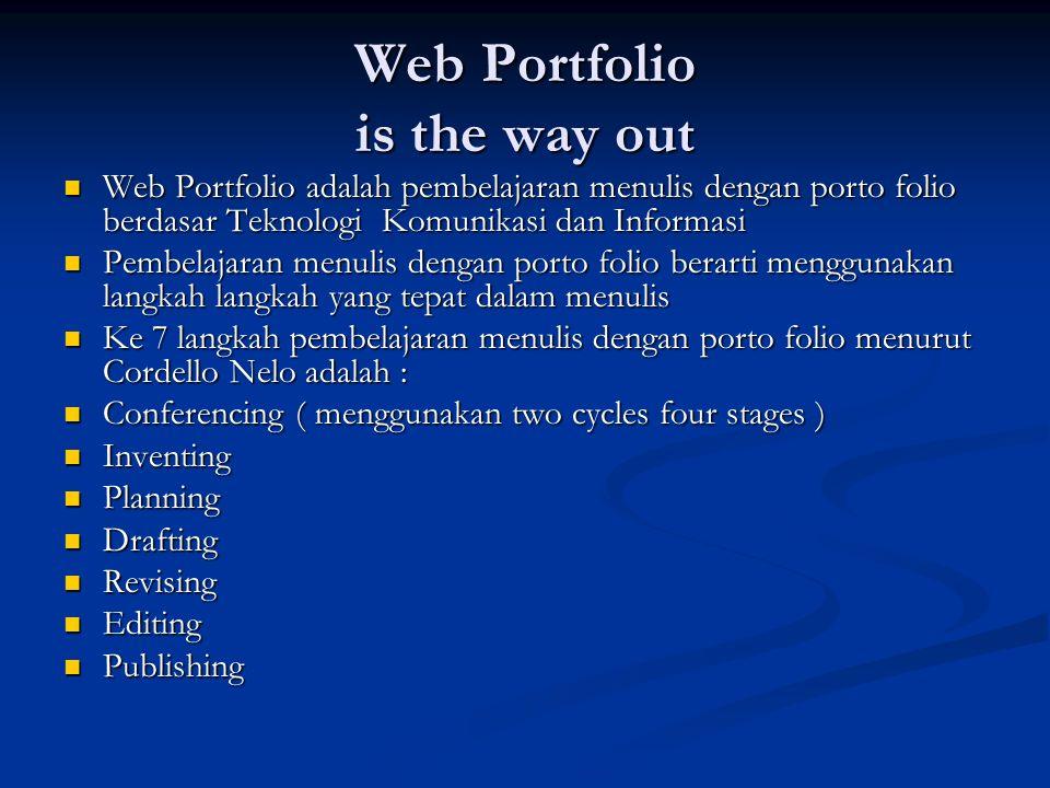 Web Portfolio is the way out Web Portfolio adalah pembelajaran menulis dengan porto folio berdasar Teknologi Komunikasi dan Informasi Web Portfolio ad