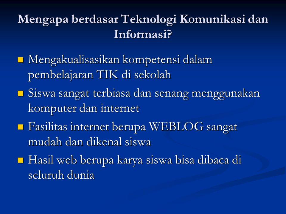 Mengapa berdasar Teknologi Komunikasi dan Informasi? Mengakualisasikan kompetensi dalam pembelajaran TIK di sekolah Mengakualisasikan kompetensi dalam