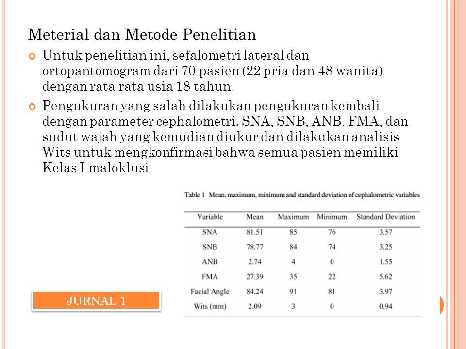 Meterial dan Metode Penelitian Untuk penelitian ini, sefalometri lateral dan ortopantomogram dari 70 pasien (22 pria dan 48 wanita) dengan rata rata u
