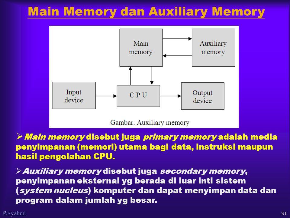  Syahrul 31 Main Memory dan Auxiliary Memory  Main memory disebut juga primary memory adalah media penyimpanan (memori) utama bagi data, instruksi maupun hasil pengolahan CPU.