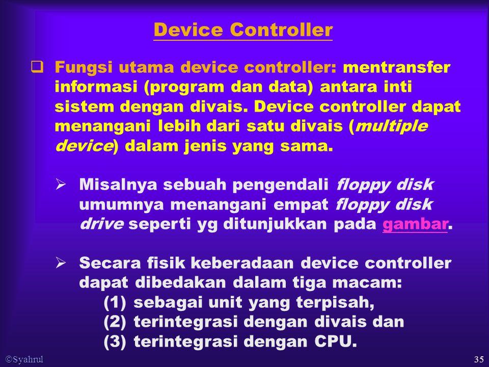  Syahrul 35  Fungsi utama device controller: mentransfer informasi (program dan data) antara inti sistem dengan divais.