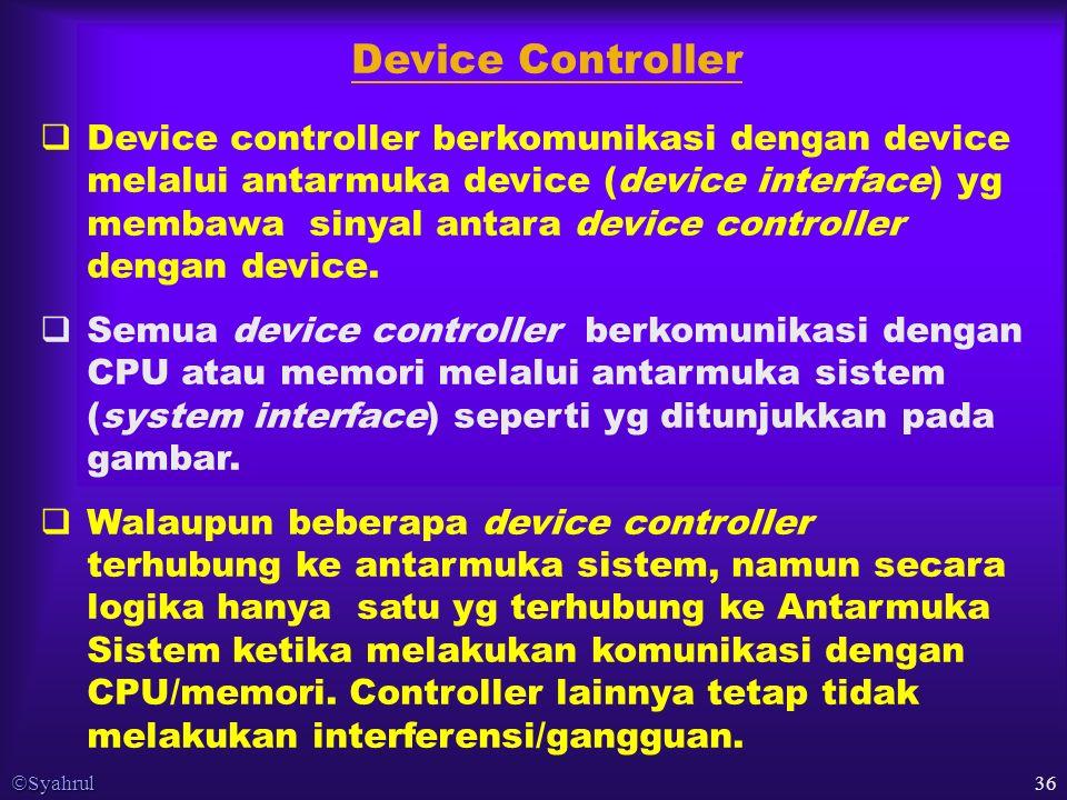 Syahrul 36  Device controller berkomunikasi dengan device melalui antarmuka device (device interface) yg membawa sinyal antara device controller dengan device.