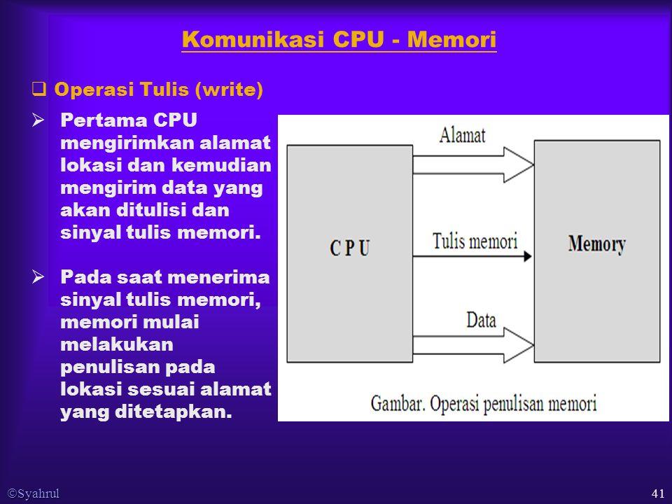  Syahrul 41 Komunikasi CPU - Memori  Pertama CPU mengirimkan alamat lokasi dan kemudian mengirim data yang akan ditulisi dan sinyal tulis memori.