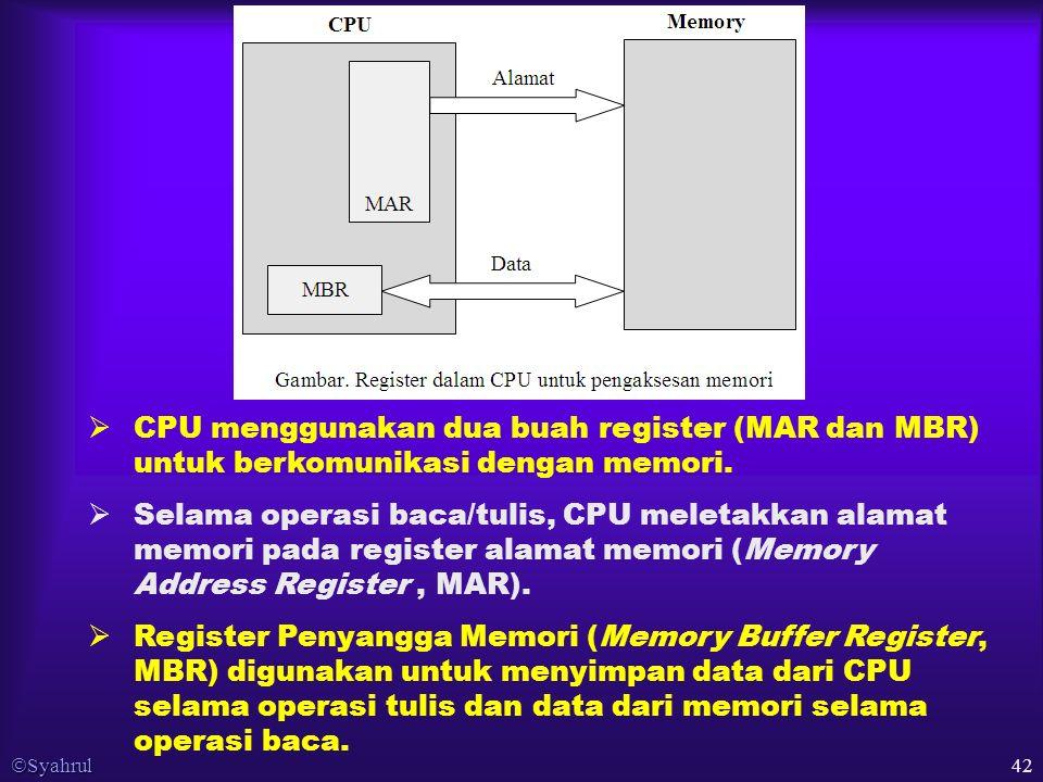  Syahrul 42  CPU menggunakan dua buah register (MAR dan MBR) untuk berkomunikasi dengan memori.