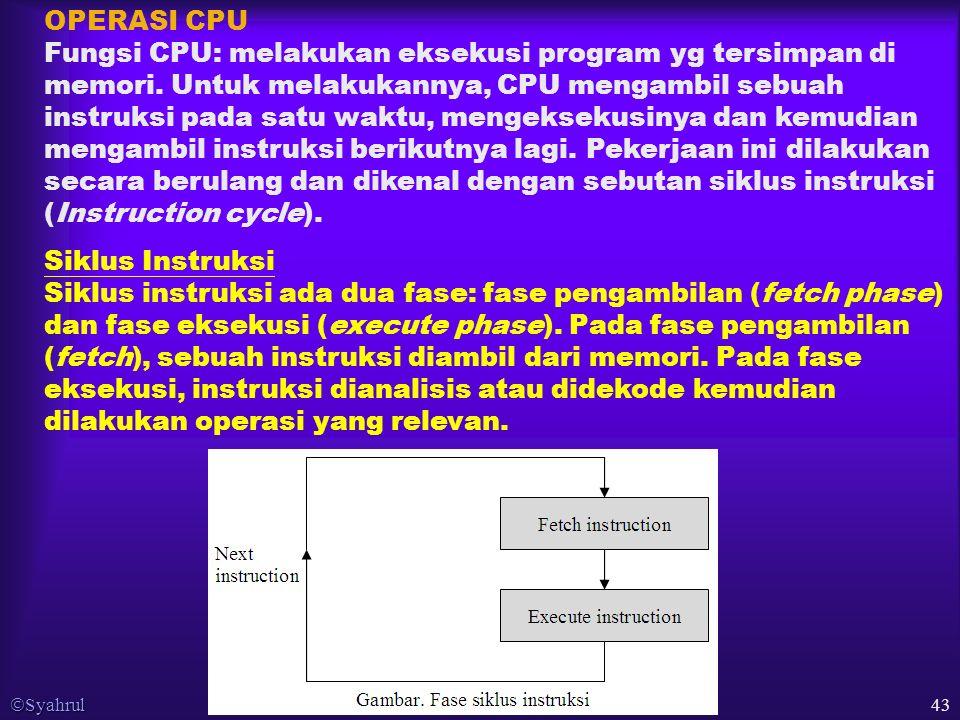  Syahrul 43 OPERASI CPU Fungsi CPU: melakukan eksekusi program yg tersimpan di memori.