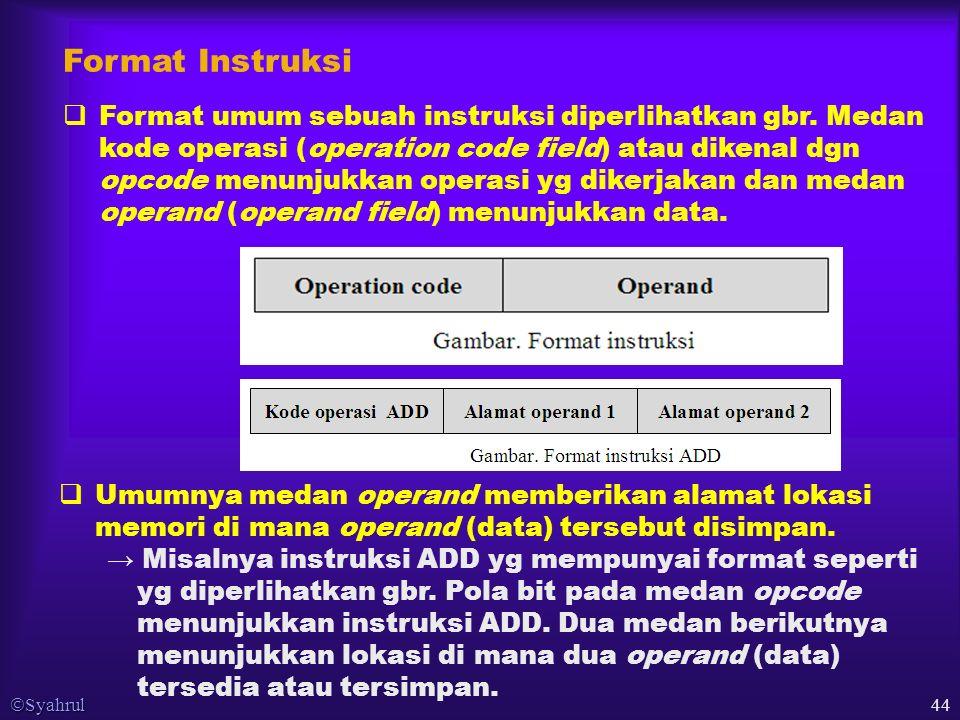  Syahrul 44 Format Instruksi  Format umum sebuah instruksi diperlihatkan gbr.