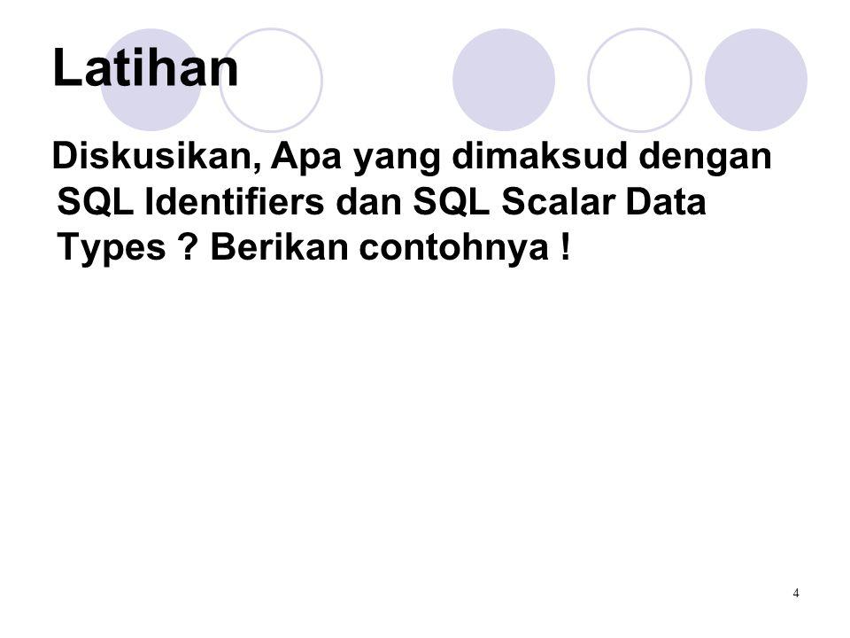 4 Latihan Diskusikan, Apa yang dimaksud dengan SQL Identifiers dan SQL Scalar Data Types ? Berikan contohnya !