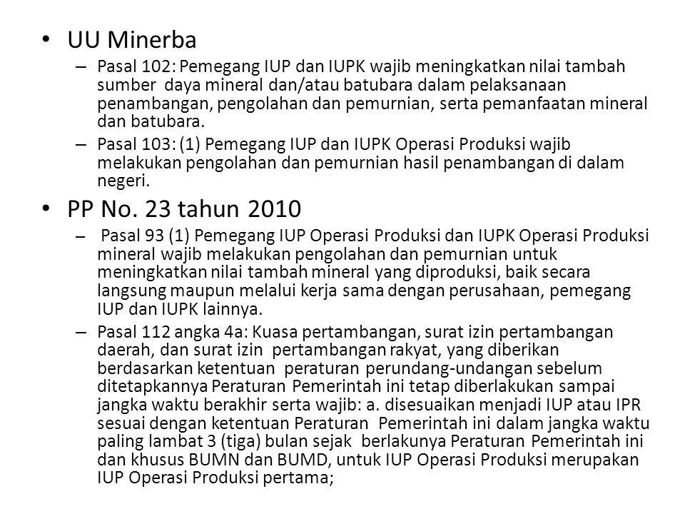 UU Minerba – Pasal 102: Pemegang IUP dan IUPK wajib meningkatkan nilai tambah sumber daya mineral dan/atau batubara dalam pelaksanaan penambangan, pengolahan dan pemurnian, serta pemanfaatan mineral dan batubara.