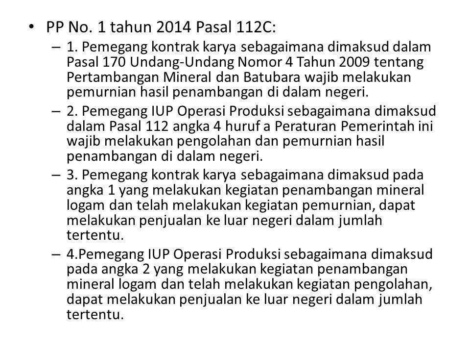 PP No. 1 tahun 2014 Pasal 112C: – 1.