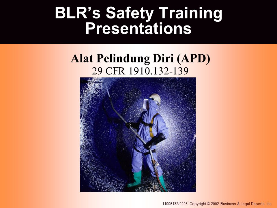 11006132/0206 Copyright © 2002 Business & Legal Reports, Inc. BLR's Safety Training Presentations Alat Pelindung Diri (APD) 29 CFR 1910.132-139