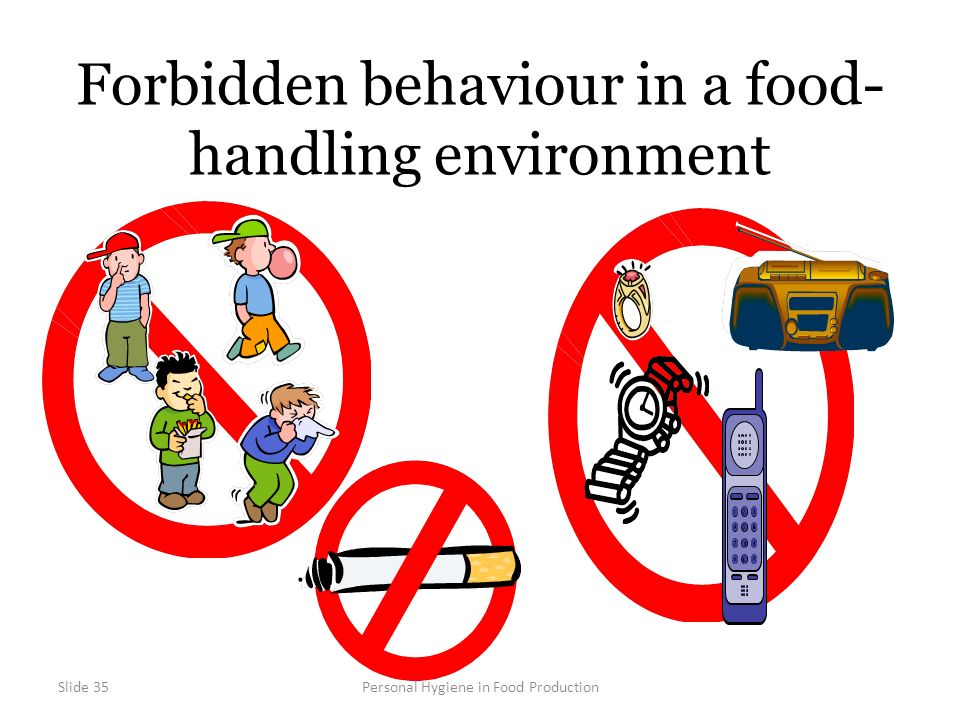 Slide 35Personal Hygiene in Food Production Forbidden behaviour in a food- handling environment