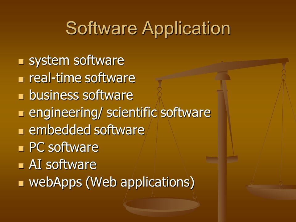Software Application system software system software real-time software real-time software business software business software engineering/ scientific software engineering/ scientific software embedded software embedded software PC software PC software AI software AI software webApps (Web applications) webApps (Web applications)