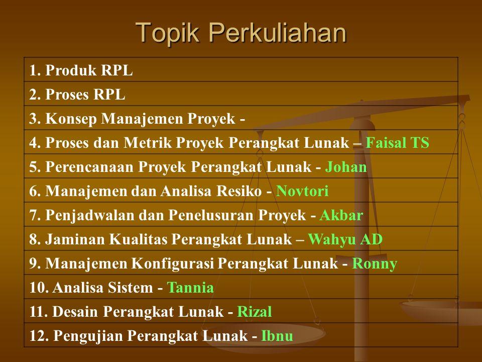 Topik Perkuliahan 1. Produk RPL 2. Proses RPL 3.