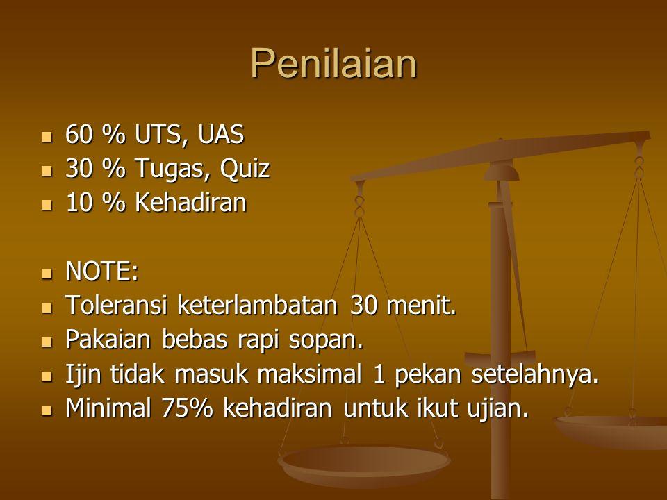 Penilaian 60 % UTS, UAS 60 % UTS, UAS 30 % Tugas, Quiz 30 % Tugas, Quiz 10 % Kehadiran 10 % Kehadiran NOTE: NOTE: Toleransi keterlambatan 30 menit.