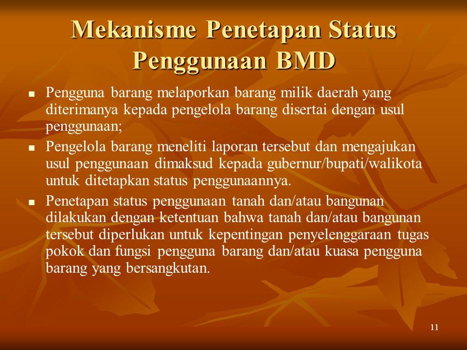 11 Mekanisme Penetapan Status Penggunaan BMD Pengguna barang melaporkan barang milik daerah yang diterimanya kepada pengelola barang disertai dengan u